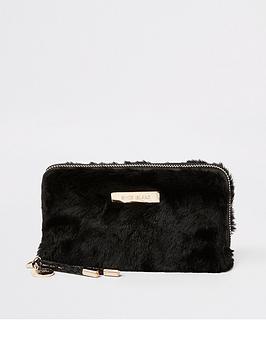 river-island-river-island-faux-fur-zip-around-purse-black