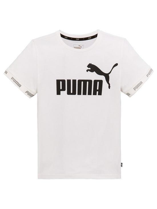 d3ca1b07f Puma Older Boys Short Sleeve Amplified T-Shirt - White | very.co.uk