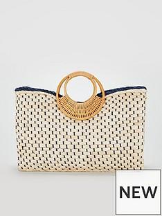 60d969d74691 V by Very Bracelet Handle Basket Weave Bag - Natural