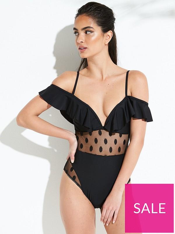 aliexpress fantastic savings luxury fashion Celosia Spot Mesh Swimsuit - Black
