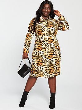 v by very curve printed shirt dress - tiger print