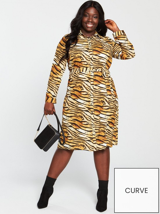 abed8df5c566 V by Very Curve Printed Shirt Dress - Tiger Print | very.co.uk