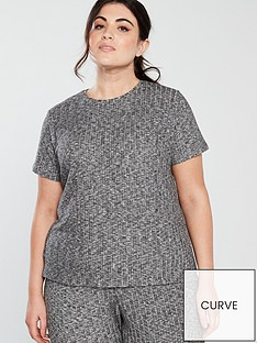 v-by-very-curve-short-sleeve-rib-top-charcoal