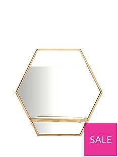 hexagon-gold-shelf-mirror