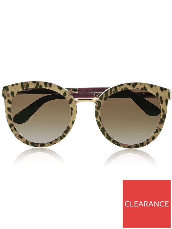 27b9008625cb Dolce & Gabbana Round Cat Eye Sunglasses - Leopard/Bordeaux | very.co.uk