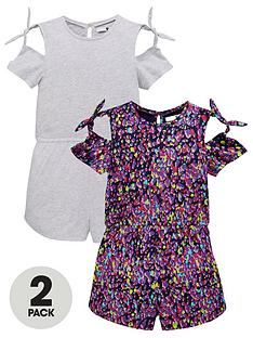 76791f6b01 V by Very Girls 2 Pack Printed Jersey Playsuits - Multi