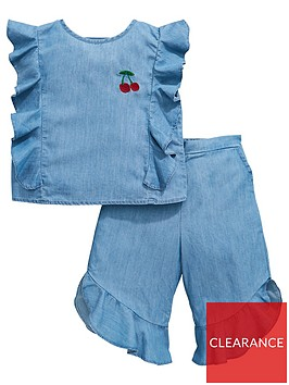 mini-v-by-very-girls-2-piece-denim-ruffle-cherry-cullote-outfit-blue
