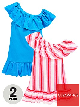 v-by-very-girls-2-pack-one-shoulder-ruffle-dresses-multi