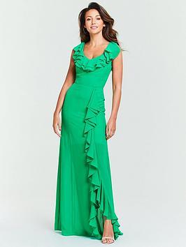 michelle-keegan-ruffle-front-maxi-dress-green