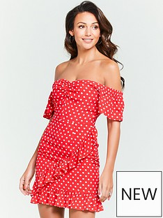 38518f5932 Michelle Keegan Bardot Ruched Front Tea Dress - Red Spot