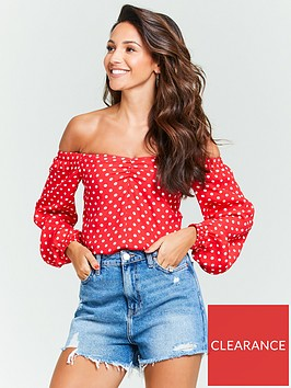 michelle-keegan-ruched-front-bardot-top-red-spot