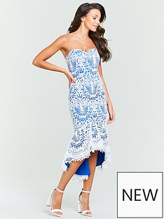 59ac65aadc Michelle Keegan Bandeau Lace Midi Dress - Blue White
