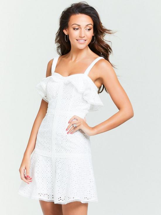 de5c7edf5993 Michelle Keegan Schiffli Mini Dress - Ivory   very.co.uk