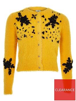 river-island-girls-yellow-fluffy-embellished-cardigan