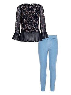 0148ccd20da51 River Island Girls Navy Sequin Frill Hem Top Outfit