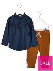 0bd4e0fad River Island Mini Mini boys denim shirt and jogger outfit