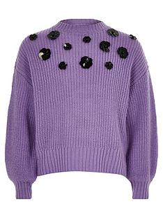 1e3f41481c0b7 River Island Girls purple floral sequin slouch jumper