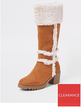 river-island-girls-tan-faux-suede-calf-boots