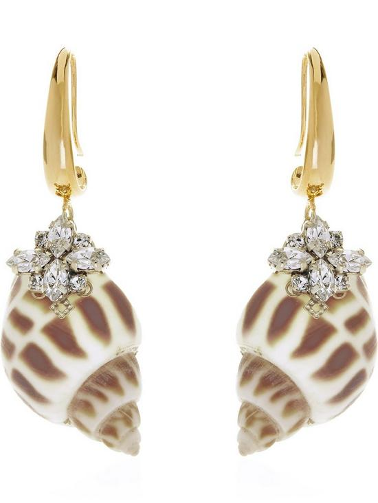 92d0d14db ANTON HEUNIS Shell And Swarovski Crystal Hook Earrings - Gold