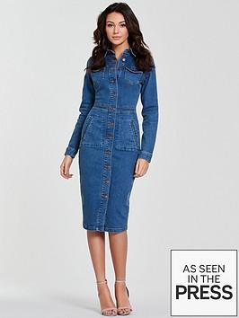 michelle-keegan-long-sleeve-denim-bodycon-dress-blue