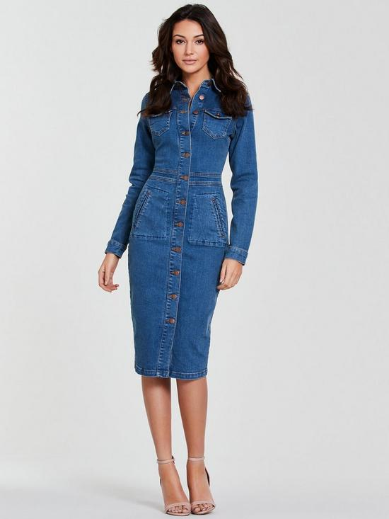 ae1f3a5108 Michelle Keegan Long Sleeve Denim Bodycon Dress - Blue