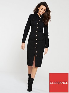 michelle-keegan-long-sleeve-denim-bodycon-dress-black