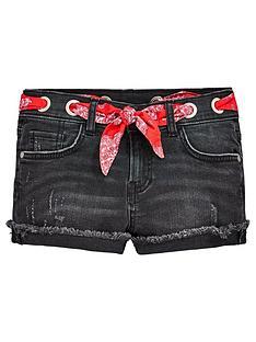 v-by-very-girls-scarf-dark-wash-denim-shorts-black