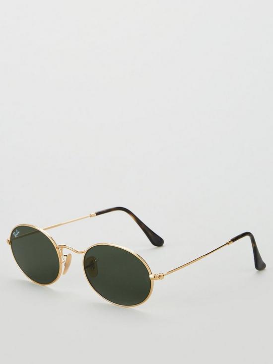 9a77c9dd132 Ray-Ban Oval Metal Slim Sunglasses - Black Gold
