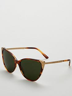 b29b66ed7c Ralph Lauren Cateye Tortoise Striped Havana Sunglasses - Brown Gold