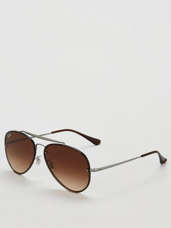 e806bd305 Ray-Ban Blaze Aviator Gunmetal Sunglasses - Brown/Black | very.co.uk