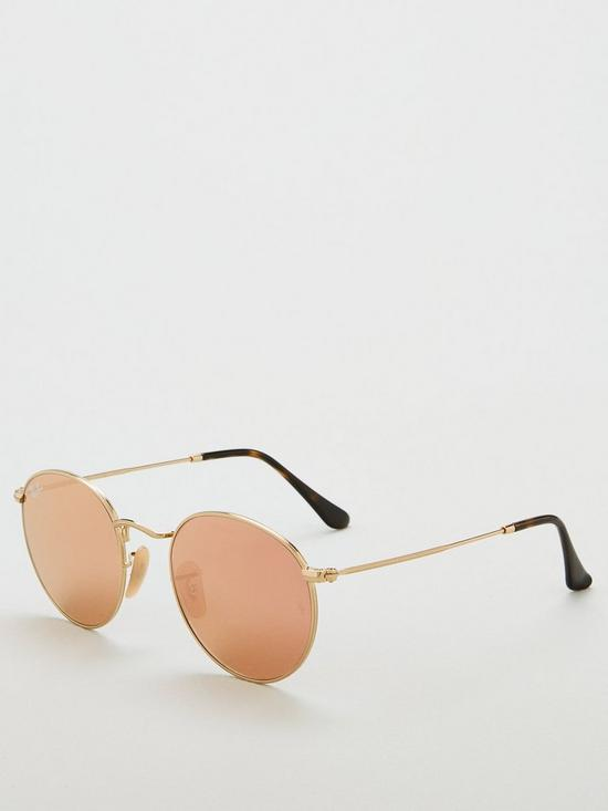 5ee16f658972 Ray-Ban Round Metal Shiny Tinted Sunglasses - Gold Brown