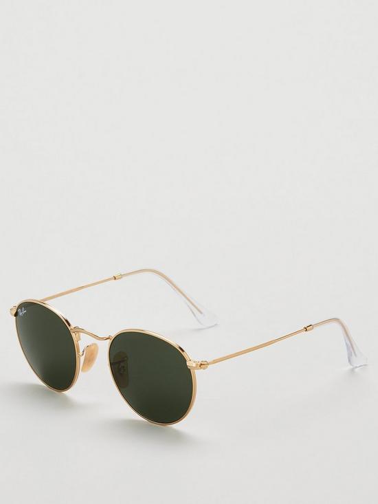 e74b05286e Ray-Ban Round Flat Top Sunglasses - Gold Green