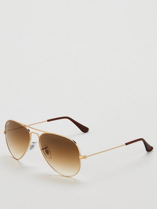 f01c60c090 Ray-Ban Aviator Gradient Lens Brow Bar Sunglasses - Brown | very.co.uk