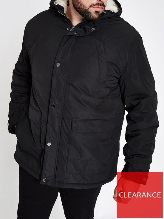 7eb59f3cd50 River Island Big   Tall black hooded borg lined coat