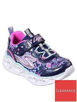 skechers-heart-lights-toddler-strap-trainers-navy
