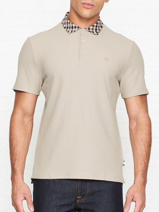 b02fd66aa AQUASCUTUM Coniston Club Check Collar Polo Shirt - Beige | very.co.uk