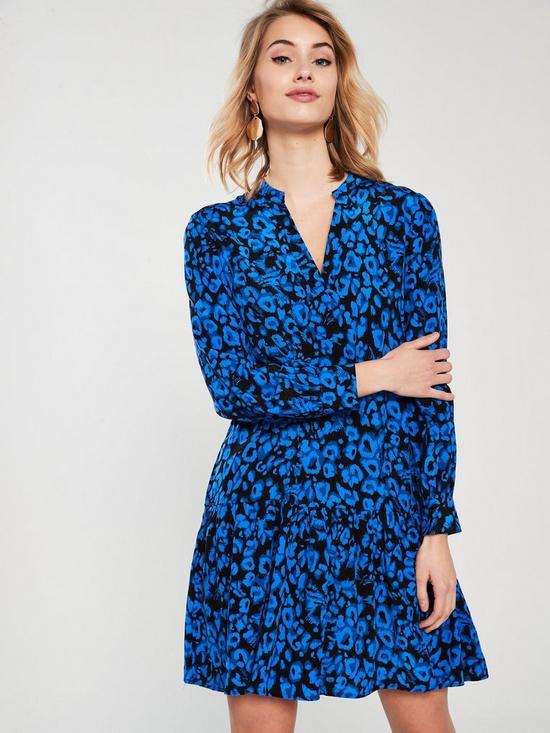 772fa60c0cc3 WHISTLES Dropped Hem Jungle Cat Dress - Blue