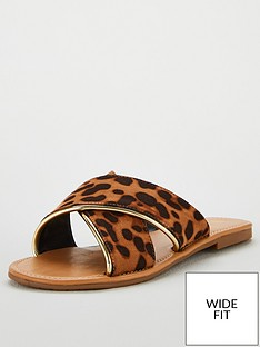 56e78fdfd34a V by Very Hallie Wide Fit Crossover Flat Sliders- Animal Print