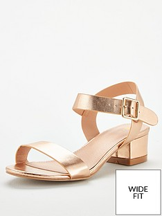 b63a955aa V by Very Gala Wide Fit Low Block Heeled Sandal - Rose Gold