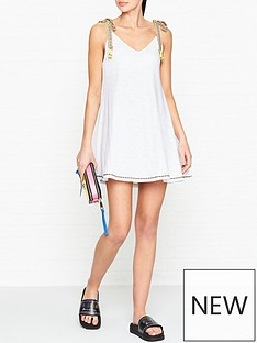 pitusa-llama-tassel-tie-shoulder-dress-white