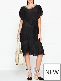 pitusa-volarenbspfrilled-dress-black