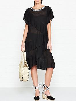 pitusa-volarenbspfrilled-dress-black