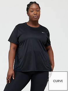 nike-runningnbspshort-sleevenbspmiler-top-curve-black