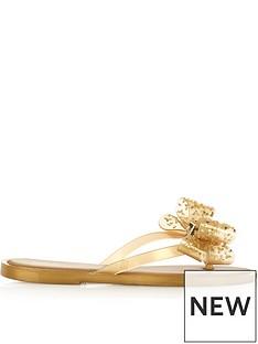 melissa-embellished-bow-flip-flops-gold
