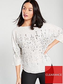 river-island-river-island-sequin-batwing-woven-top-white