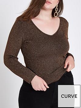 ri-plus-v-neck-knit-jumper-bronze