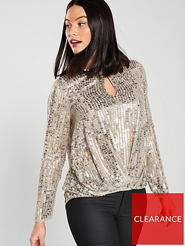 river-island-tuck-hem-sequin-top-gold
