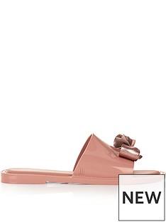 melissa-metallic-bow-flat-sliders-pink