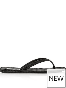 melissa-flat-braided-flip-flop-sandals-black