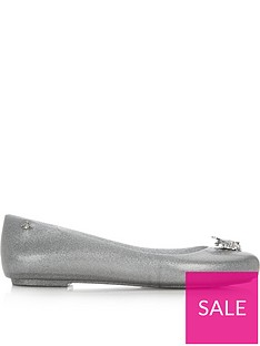 melissa-flat-ballet-pump-with-metallic-bee-silver